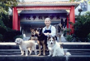 一九九○年攝於佛學院,護生組與狗狗(右起為黑狼、來莉、來興、來恩、來福) 圖/佛光山提供
