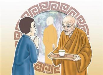 有一位信徒到寺院裡拜訪住持大和尚。正當年輕的住持與信徒交談的時候,迎面走來了一位老和尚。年輕的住持看到了,就對老和尚說:「去倒一杯茶來請客人!」老和尚就去倒茶了。茶來了,住持又再吩咐:「再去切一盤水果來招待客人!」老和尚又去切了一盤水果來。圖/道璞