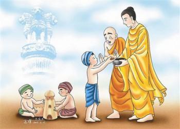 有一次,佛陀和阿難入舍衛城托缽乞食,看到一群兒童在路邊玩耍嬉戲,以泥沙建造宮殿、倉庫,及儲藏在倉庫內的財寶、五穀。圖/道璞