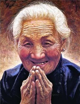 畫家李自健繪大師的外婆。 圖/法堂書記室提供