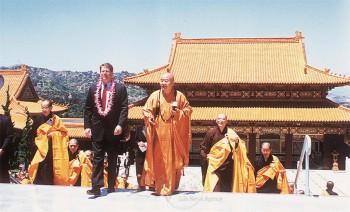 美國第一位至西來寺拜見大師的國家副元首高爾先生。 圖/佛光山寺提供