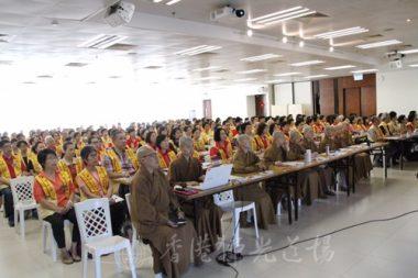 法師們及幹部會員聆聽國際佛光會香港協會秘書長永富法師開示。(人間社記者葉偉炳拍攝)