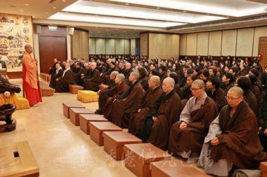 法會後,香港佛光道場住持永富法師為大眾開示。(人間社記者黃偉強拍攝)
